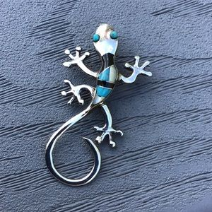 Jewelry - Handmade Sterling Silver chameleon pendant or pin.
